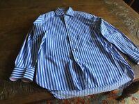 Mans Charles Tyrwhitt Striped blue Shirt 15 inch (38 cms) collar 33 inch(84 cms) chest