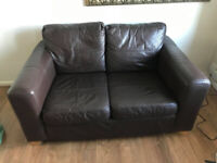 Brown Leather Two Seat Sofa - Free