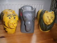 3 X WOODEN ANIMAL ORNAMENTS - LION,TIGER AND ELEPHANT
