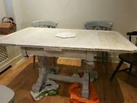 Oak antique limed table extendable