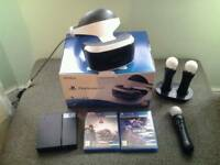 PlayStation VR with VR Worlds and Farpoint + 3 PS Move Controllers incl. Docking Station