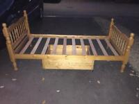 Solid pine single bed with storage