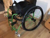 Da Vinci Wheelchair Rigid Active Spinergy wheels and frogleg forks