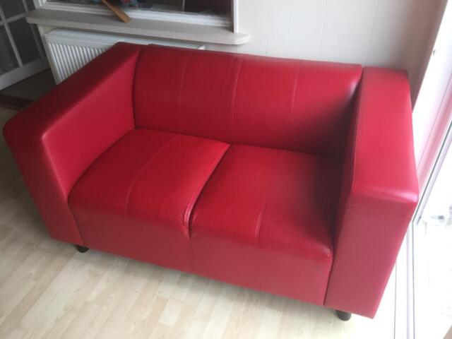 f1d9cbad3a2f Red genuine leather 2 seater tub sofa chair VGC | in Aylesford, Kent ...