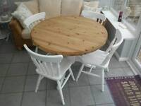 Pine shabby chic dining table and 4 chairs