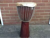 Large African Wooden Tribal Congo Djembe Drum