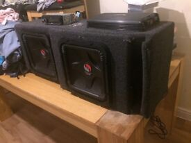 Kicker solo baric l5 twin 12inch subs radio and amp