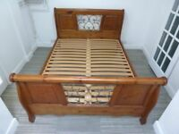 SLEIGH KING SIZE SOLID WOODEN BED FRAME