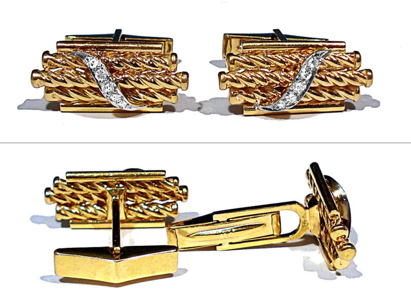 SOLID 14K YELLOW GOLD & DIAMONDS CUFFLINKS
