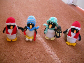 4 New Hand Knitted Winter Penguins