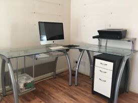 Glass chrome computer desk
