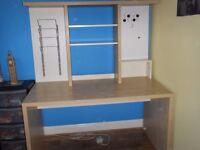 IKEA Mikael Large Birch Effect Desk & Additional Top Unit of Shelves, Magazine Rack & Magnetic Board