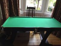 6ft pool table. Very good condition (as new). Folds into an upright position for easy storage.