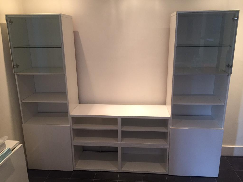Reduced Ikea Besta Tv Stand Display Unit With Additional Shelving And Doors