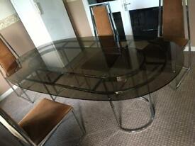1970/80s Smoked Glass Dining Table & 4 Corduroy Velvet Padded Chairs Square Chrome Bottom John Lewis