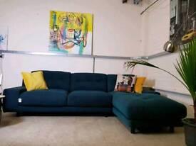 Habitat Hendricks corner sofa in Teal green herringbone wool RRP £2600