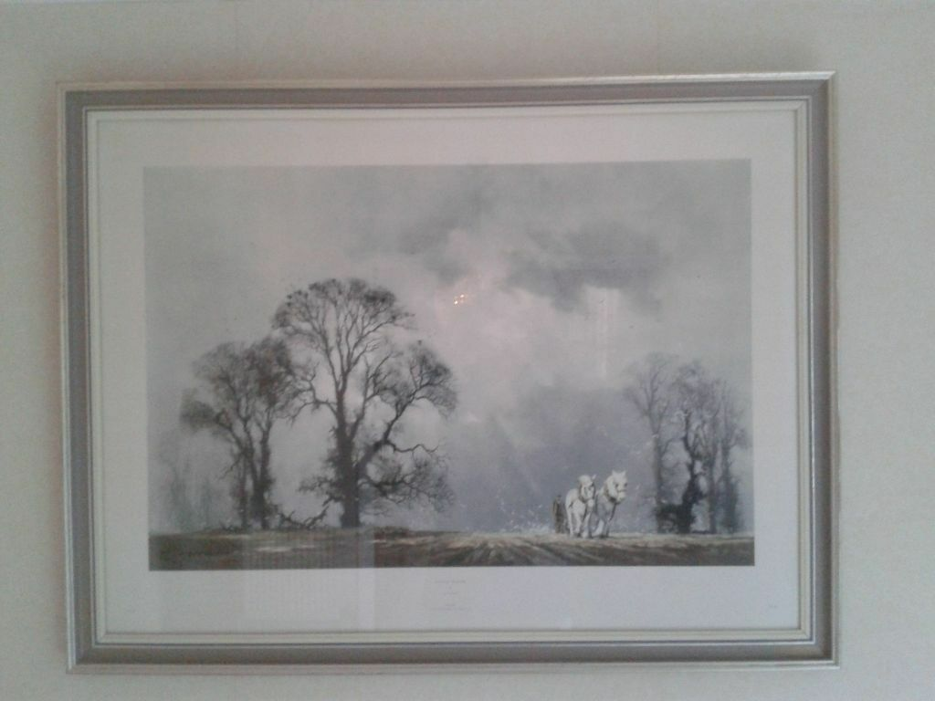Signed Amp Framed Print Winter Plough By Famous Artist