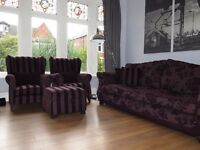 Plum DFS 4 Seater Sofa, 2 x Wingback Chairs/Armchairs & Footstool Suite