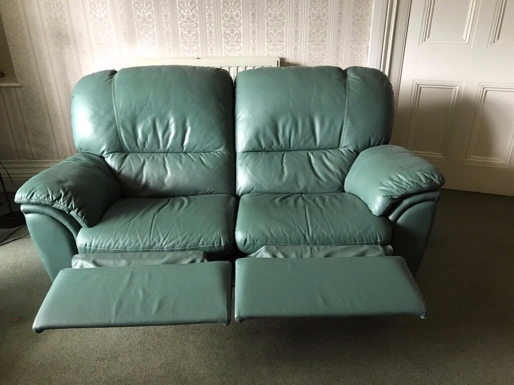Sage Green Leather 2 Seater Recliner Sofa Mint Condition