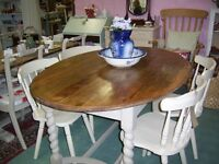 KITCHEN DINING TABLE OVAL BARLEY TWIST VGC Table Only Not Chairs