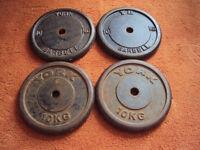 4 x 10kg York Cast Iron Weight Plates