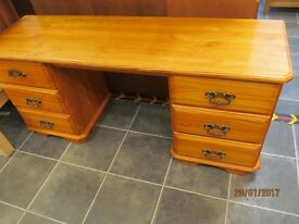 6 DRAWER SOLID PINE DRESSING TABLE / DESK AND 2 BEDSIDES WITH DOVE TAIL JOINTS IDEAL PROJECT