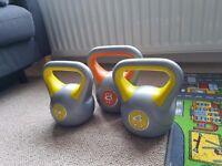 3 Kettlebells for sale. 8kg and 2 × 4kg. York Fitness Kettlebells. Will sell separately