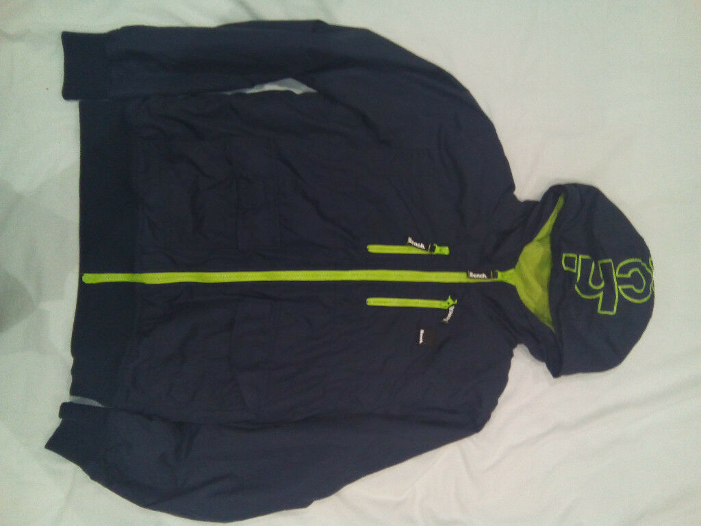 Boys Blue & Lime Bench zip-up hooded jacket. Age 13-14. 164cm. Very Good Condition.