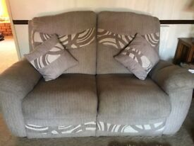 BROWN FABRIC 2+1+1 RECLINER SOFAS - MUST GO ASAP - FREE DELIVERY SOME AREAS - £275