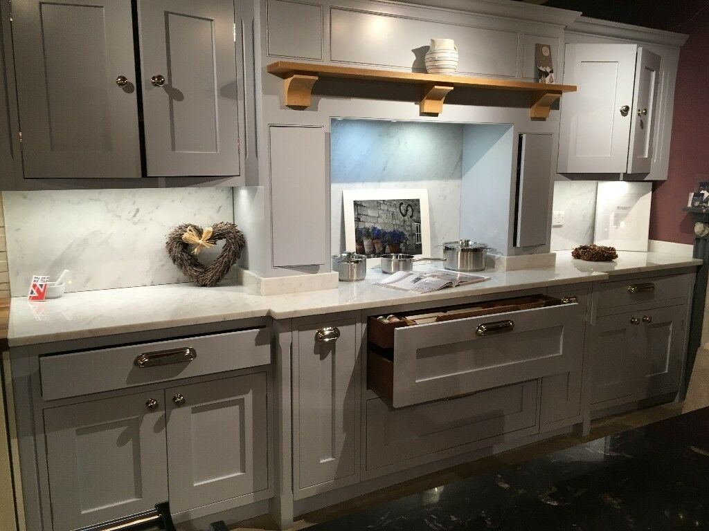 Beautiful Soft Blue Shaker Style Kitchen Units With Over