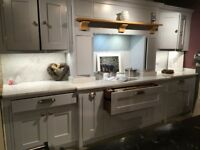 Beautiful soft blue shaker-style kitchen units with over mantle - ex-display - SOLD AS SEEN