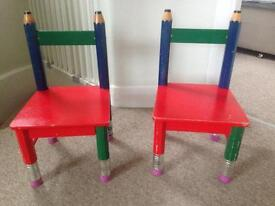 2 pencil children sized chairs