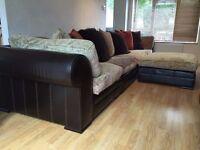 Hemingway Hemmingway Tetrad Leather and Fabric Corner Sofa