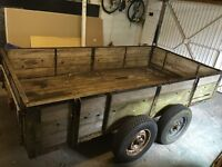 Double axle trailer 5.5' x 10' with solid t&g wood base & cover