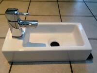 Bathstore Trio Wash Porcelain Cloakroom Basin / Taps / Waste - Not Used.