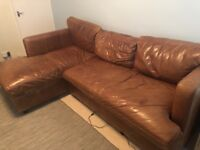 Brown leather corner sofa - collection only