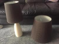 Selection of household goods, curtains, lampshades, coal bucket, baby shoes