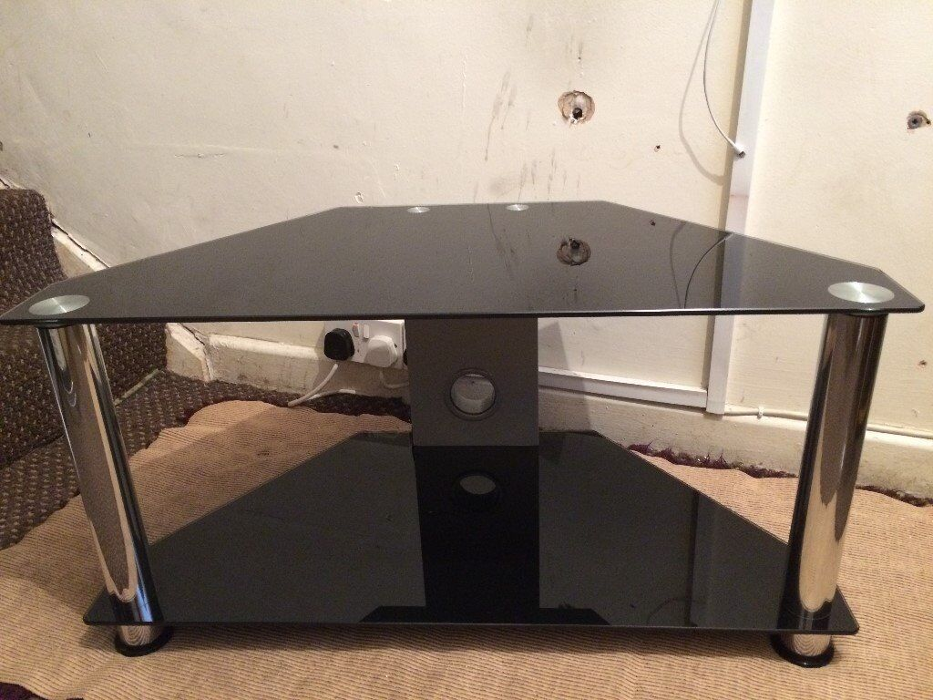 Tv Stand Black Glass Scratch Less Clean Condition Size Wide 32 Inch High