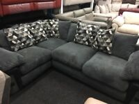 New / Ex Display Ashmore Grey and Black Corner Sofa (Optinal Footstool)