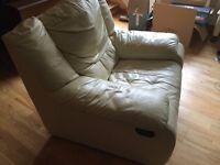 Genuine Real Leather 'Calia' Italian 2 Seater Cream Sofa and Armchair Both Reclining