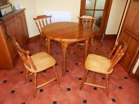 Round Pine Table and 4 Chairs