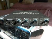Focusrite Saffire Pro 14 firewire audio soundcard with PSU, manual & 2 firewire leads. 4in&4outputs