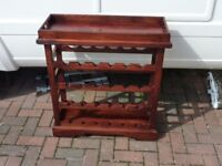 free standing 24 bottle mahogany wine rack with butlers tray