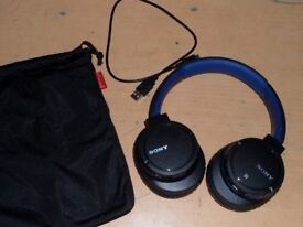 Sony MDR-ZX770BN Wireless Noise Cancelling Headphones - Blue - Very Good Condition