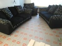 S/HAND EX DFS: 2 X 3 SEATER SCATTER BACK SOFA & 1 ARM CHAIR
