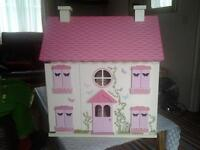 DOLLS HOUSE WITH 2 DOLLS AND FURNITURE