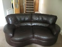 3&2 seater brown leather sofa & matching footstool