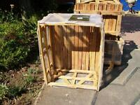 3 Wooden crates previously used to transport patio slabs