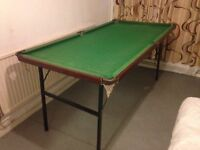 Snooker or Pool Table 3ft x 6ft with 4 Cues - The Snooker Table Legs Fold - a bit dusty from storage