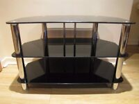 TV STAND BLACK GLASS FINISH AND Stainless Steel